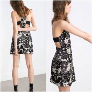 Zara Black & White Floral Dress Cut-Out Mini